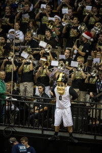 Purdue Pete hangs out with the Purdue Pep Band