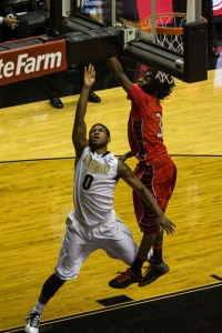Terone Johnson getting fouled on a layup