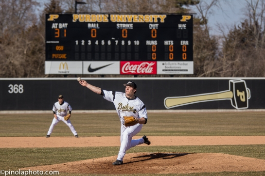 Brad Schreiber throws the first pitch in Alexander Field history